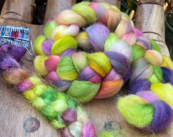 Pansies Hand Dyed Falkland and Firestar pack, Fiber top roving spinning felting