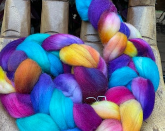 Evening Light 2- Hand Dyed Rambouillet Fiber, top roving spinning felting