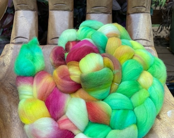 Mexican Sunflowers Hand Dyed Rambouillet Fiber, top roving spinning felting