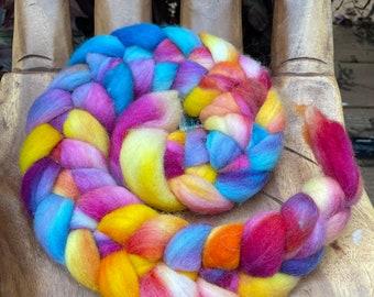 Sunset Vibes Hand Dyed Falkland Fiber top roving spinning felting