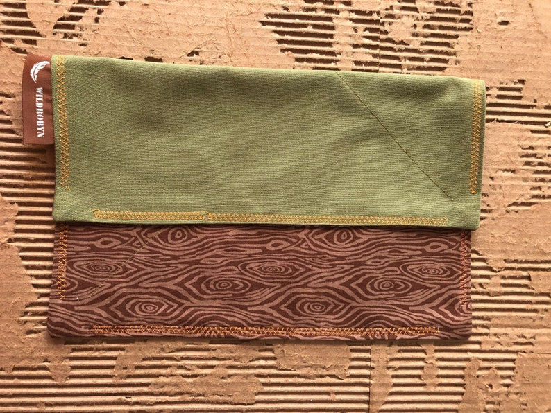 EDC Handkerchief Hank Handmade ~  Brown Tree Wood Grain  12 x 12 Stocking stuffer Prepper