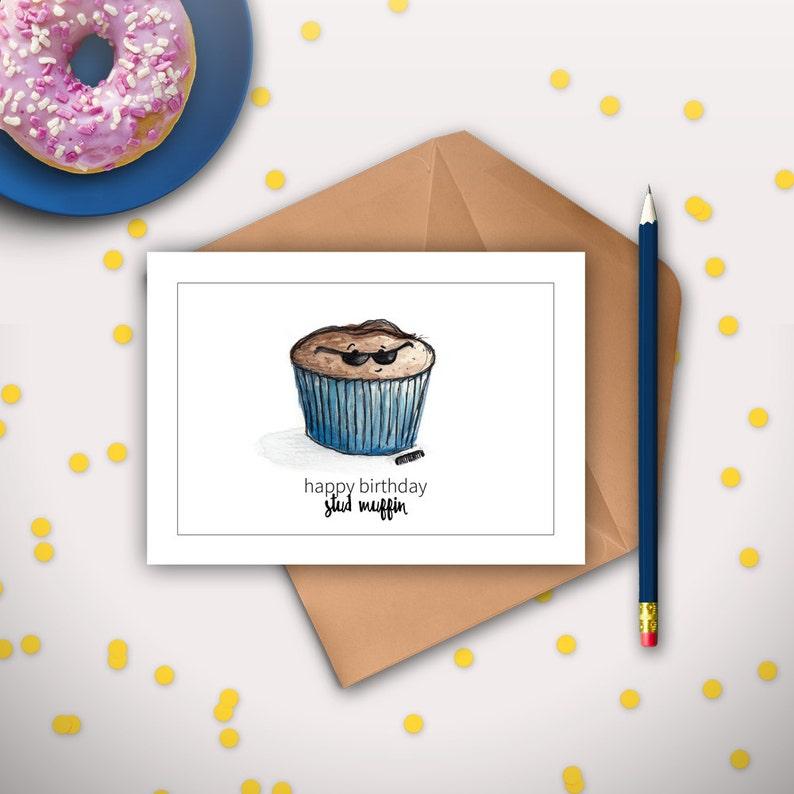 Boyfriend Birthday Card Husband Birthday Card Stud Muffin Etsy