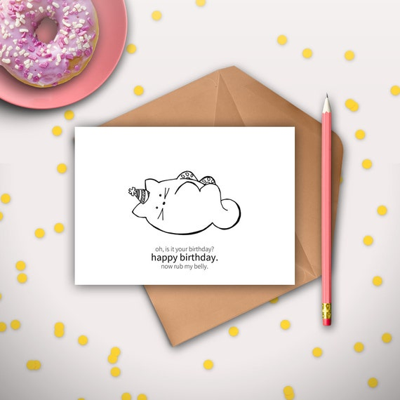 Funny Cat Birthday Card Printable Instant Download Digital
