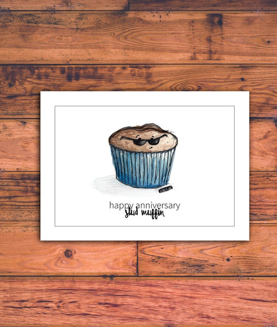 Printable Anniversary Card for Him Stud Muffin Funny | Etsy