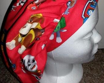 Paw Patrol Red Medical Bouffant Scrub Hat