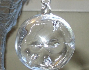 Small Clear Witch Ball Glass Ornament Hand Blown by Jenn Goodale
