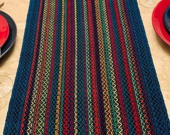 XL Zig-Zag Table Runner, Extra Wide, Spring Runner, Buffet Table, handwoven, dinner table, table runners, Modern Table Runner, Extra-Large