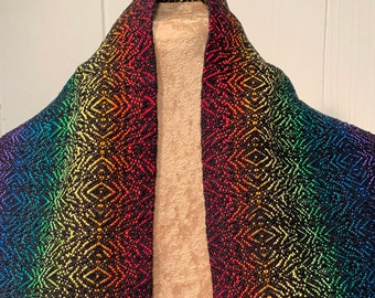 Rainbow Diamond Scarf, Handwoven Rainbow Scarf, Gay Pride Scarf, Hand Woven Scarf, Fashion Scarf, Spring Scarf, Fashion Accessory