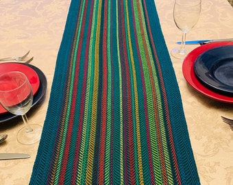 Hand woven Table Runner, Extra Wide, Spring Runner, Buffet Table, handwoven, dinner table, table runners, Rainbow Stripes, Striped Runner