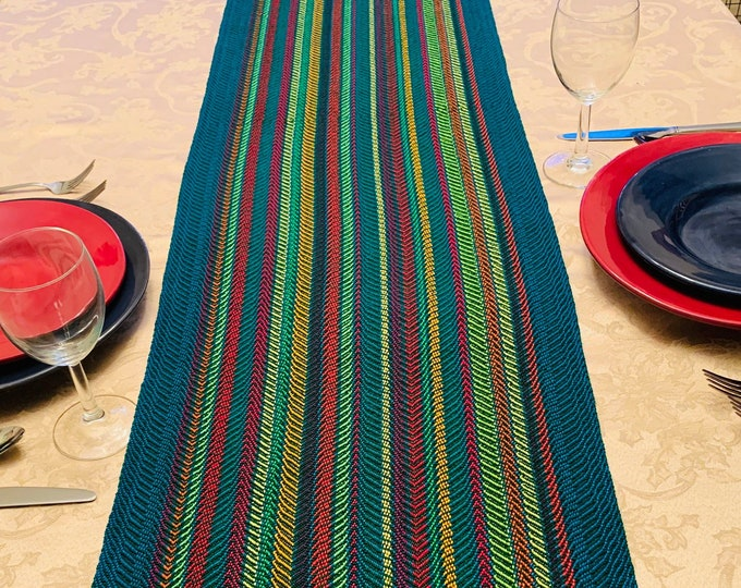 Featured listing image: Hand woven Table Runner, Extra Wide, Spring Runner, Buffet Table, handwoven, dinner table, table runners, Rainbow Stripes, Striped Runner