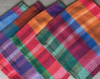 Set of 4 Large Napkins, Handwoven Napkins, Zig-Zag Pattern, Jewel Tone Napkins, Handwoven Table Linens, Handmade Napkins, Picnic Napkins