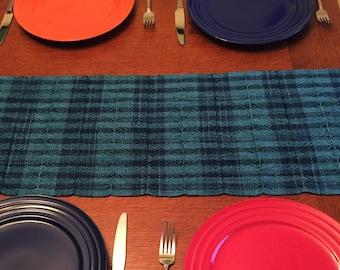 Hand Woven Sea Foam Table Runner, Rectangular Table Runner, Teal Table Runner, Wedding Gift, Dresser scarf, Dinner Table, Ocean Green
