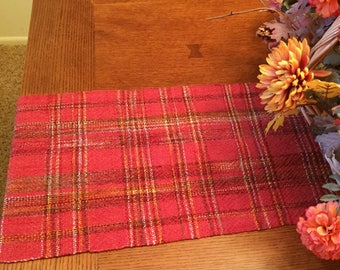Pumpkin Table Runner, Hand Woven, Thanksgiving Runner, Fall Table, Wedding Gift, dresser scarf, handwoven, dinner table, table runners