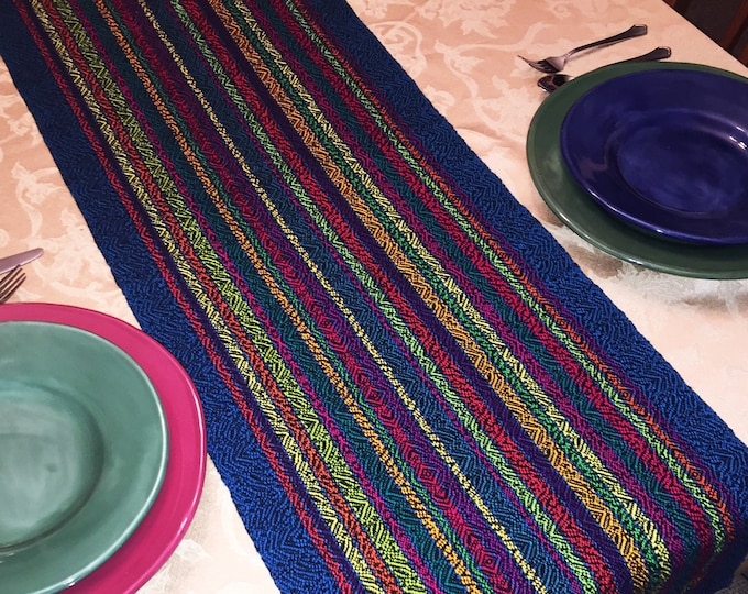 Featured listing image: XL Festive Table Runner, Extra Wide, Holiday Runner, Buffet Table, Christmas Table, Hanukkah Table, handwoven, dinner table, table runners