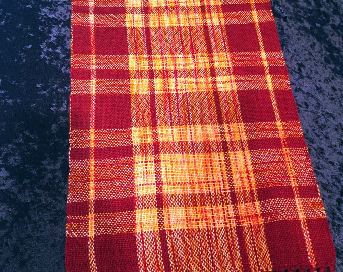 Featured listing image: Red Table Runner, Orange Table Runner, Hand Woven,  Wedding Gift, dresser scarf, dinner table, accessory, table runners, Buffet Table Cloth