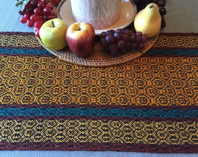 Featured listing image: Fall Table Runner, Dresser Scarf, Thanksgiving Runner, BuffetTable, Fall Table, Wedding Gift, handwoven, dinner table, table runners