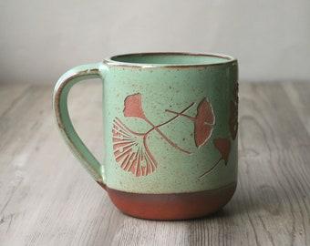 Ginkgo Leaves Farmhouse Mug - sgraffito carved rustic pottery