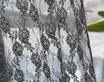 Designer Closeout FABRIC - Stretch Lace - Ditsy Floral - Smoke