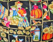 Fall, Thanksgiving 16 quot pillow shams of pumpkins, apples, grapes, scarecrows etc. Light green ruffle with decorative thread design.