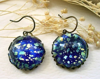 Blue Green Harlequin Glass Brass Earrings