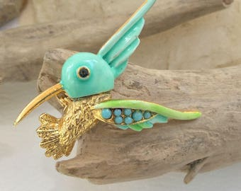 Gold Aqua Turquoise Green Hummingbird Brooch Pin