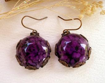 Amethyst Quartz Glass Purple Earrings