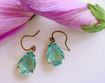 Aqua Glass Earrings - Brass and Open Back - Teardrops or Pear