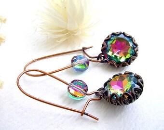 Vitrail Medium Earrings - Brass and Glass