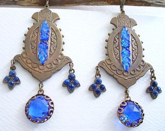 Blue Glass Earrings - Brass and Glass