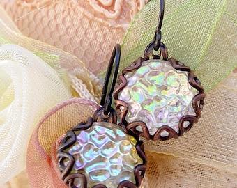 Iridescent Glass Earrings Brass Filigree