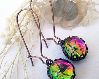 Vitrail Star Earrings - Brass and Glass