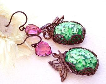 Brass Butterfly Earrings Pink Green Glass