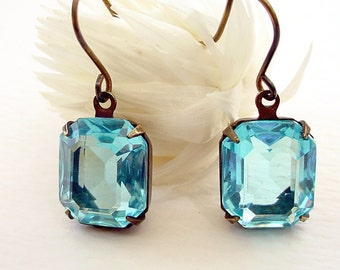 Aqua Glass Earrings - Brass and Open Back - Rectangle