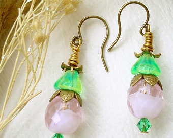Brass and Czech Pink and Green Glass Beaded Earrings Rose Bud