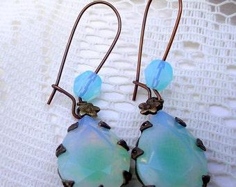 Brass Opal Earrings - Blue Green Aqua Sabrina Glass