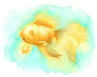 Colorful Yellow Gold Fish, Watercolor Fish, Watercolor Painting, Original Artwork, Yellow Blue Green