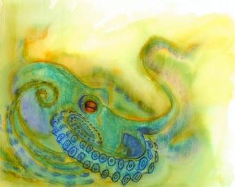 Blue Octopus Print, Octopus Watercolor Painting Print, Octopus Lover, Beautiful Original Artwork, Colorful Octopus Print 8.5 by 11