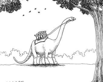 Ewoks Riding a Brontosaurus Adult Coloring Page / Comic / Silly Dinosaur / Star Wars Humor