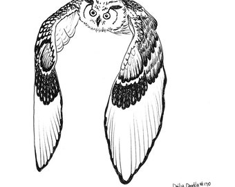 Owl Flying Adult Coloring Page / Bird of Prey / Owl Flying / Bird Lover
