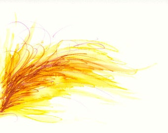 Minimal Abstract Watercolor Painting - Yellow Abstract Painting - Elegant Colorful Painting - Fire in the Wind Watercolor Print