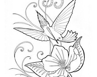 No. 200 Hummingbird / Daily Doodle / Illustration / Coloring Page / Adult Coloring