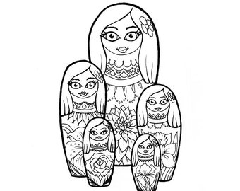 No.203 Collect / Original Artwork / Illustration / Daily Doodle / Art Print / Nesting Dolls