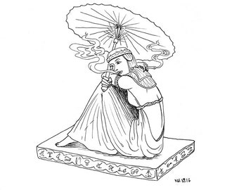 Woman Smoking Coloring Page / Illustration / Adult Coloring / Woman with Umbrella / Egyptian Woman / Old Timey