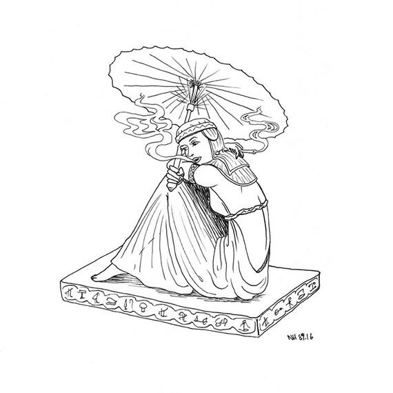 Frau Rauchen Malvorlagen / Illustration / Erwachsenen Färbung
