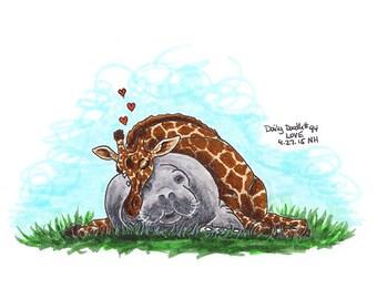 No.94 Love / Original Artwork / Illustration / Daily Doodle / Art Print / Love Art / Giraffe / Manatee / In Love / Best Friends Forever