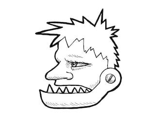 No.210 Unhinged / Original Artwork / Illustration / Daily Doodle / Art Print / Halloween / Frankenstein