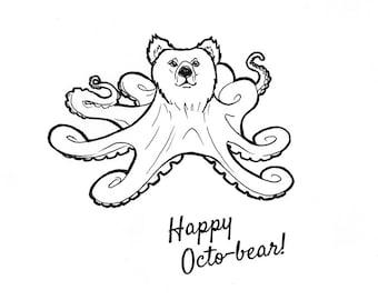 No.202 Oct-bear / Original Artwork / Illustration / Daily Doodle / Art Print