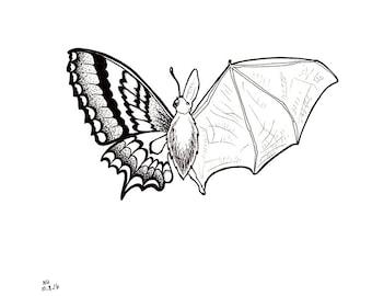 No.207 Batterfly / Original Artwork / Illustration / Daily Doodle / Art Print / Bat and Butterfly Mashup