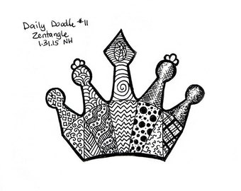 Zentangle Adult Coloring Page / Drawing / Illustration / Daily Doodle / Crown Drawing