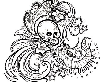 No.199 The Mantis and The Skull / Daily Doodle / Illustration / Coloring Page / Adult Coloring